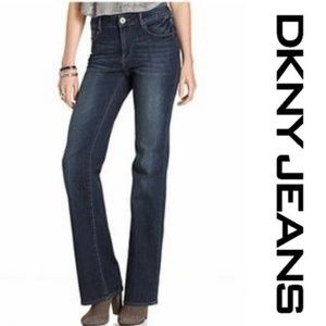 DKNY SOHO Flap Pocket Slim Boot Cut Dark Jeans 6